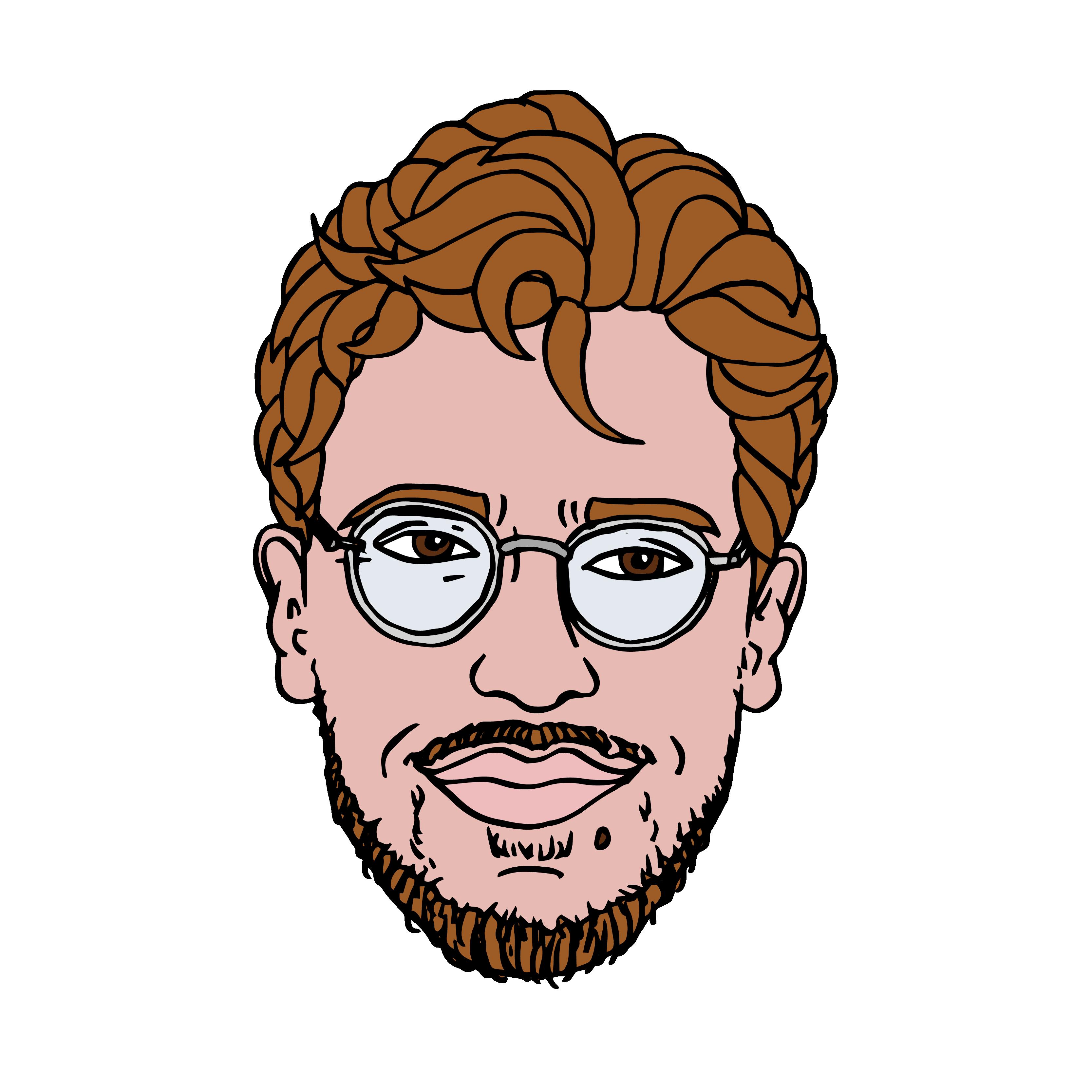 portet illustratie van man met bril